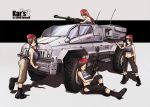 4girls beret brown_hair brunette car concept_art girl gun karanak machine_gun military motor_vehicle original redhead shorts uniform vehicle weapon