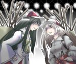 black_hair bow burdock_root fujiwara_no_mokou hair_bow hat houraisan_kaguya long_hair parody plant red_eyes suspenders touhou white_hair