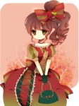 apple bad_id bag blush bow brown_hair dress flower food formal frills fruit gloves grapes green_eyes hair_bow hair_ornament jewelry long_hair necklace original purse ribbon shichi short_sleeves side_ponytail sitting smile solo