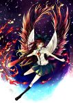 black_wings bow brown_hair cape eyes fire flying hair_bow highres kneehighs large_wings long_hair nako nako_(nonrain) outstretched_arms puffy_sleeves red_eyes reiuji_utsuho solo spread_arms touhou wings
