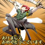1boy dual_wielding grey_eyes grin male minazuki_sho persona persona_4 persona_4:_the_ultimate_in_mayonaka_arena redhead scar short_hair smile solo sword t0kiwa weapon