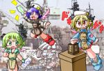 4girls aircraft_carrier american_flag antennae apron arm_up blonde_hair blush blush_stickers boots casablanca_class_escort_carrier chibi despair detached_wings dress empty_eyes fang flight_deck giving_up_the_ghost gloves green_eyes green_hair happy hat jumping lottery mecha_musume military multiple_girls no_nose o_o open_mouth original pale_face personification photo_background pointy_ears red_eyes shinsanbou ship short_hair side_slit sleeves_folded_up star sweatdrop us_navy wings world_war_ii