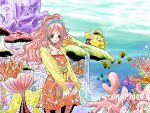 1boy 1girl akubi_to_ribbon aqua_eyes bag blouse blush breasts cleavage copyright_name coral_reef dress earrings fish giantess hairband handbag hat jewelry long_hair mermaid monkey_d_luffy monster_girl one_piece pink_hair shirahoshi short_dress straw_hat tail water