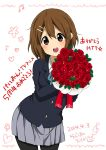 1girl anniversary blazer blush bouquet brown_eyes brown_hair flower hair_ornament hairclip hirasawa_yui k-on! pantyhose ragho_no_erika rose school_uniform short_hair translation_request