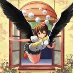 1girl bird_wings blouse brown_hair camera emuki_(armies_soul) flying folded_leg hat highres leaf looking_at_viewer open_window orange_eyes outstretched_arm pom_pom_(clothes) scarf shameimaru_aya short_hair short_sleeves skirt smile solo tokin_hat touhou vines