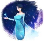 1girl apple_brk black_hair blue_eyes cosplay dress earrings elsa_(frozen) elsa_(frozen)_(cosplay) female frozen_(disney) genderswap jewelry jojo_no_kimyou_na_bouken jonathan_joestar short_hair snowflakes solo