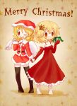 2girls aki_minoriko aki_shizuha alternate_costume arinu barefoot blonde_hair bow christmas_ornaments gift hair_ornament hat holding_hands merry_christmas multiple_girls ribbon sack santa_costume santa_hat short_hair siblings sisters smile star thigh-highs touhou