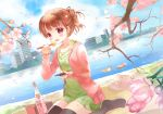 1girl bird blush brown_hair cherry_blossoms chopsticks dress duck earrings eating flower jewelry original ponytail short_hair sitting sky smile solo sweater takeda_mika thigh-highs violet_eyes water