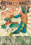 1boy crossover detached_sleeves hawlucha highres mask monji619 pokemon poster sin_cara spanish translation_request wwe