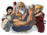 3boys andrew_parish_johnston bald barefoot beard black_hair blocking blonde_hair eyebrows facial_hair gouken ken_masters kicking kote laughing long_hair multiple_boys muscle mustache ryuu_(street_fighter) short_hair shouryuuken street_fighter tatsumaki_senpuukyaku thick_eyebrows uppercut white_hair younger