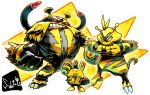 electabuzz electivire elekid grin highres no_humans pokemon pokemon_(creature) red_sclera sido_(slipknot) signature smile standing white_background
