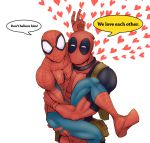 2boys bunny_ears_gesture carrying deadpool english heart male marvel mask multiple_boys spider-man spider-man_(series) v_(bunny_ears)