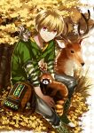 1boy backpack bag blonde_hair deer foxcc free! grass hazuki_nagisa hoodie male pink_eyes red_panda sitting smile squirrel tree