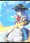 1girl blue_eyes blue_hair bow clouds dress energy_ball food frown fruit gloves hat highres hinanawi_tenshi long_hair peach scarlet_weather_rhapsody short_sleeves sky solo sword_of_hisou touhou weapon yomi_(yomi14_pyaon)