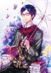 1boy blue_eyes blue_hair book butterfly foxcc free! glasses lilac male open_book red-framed_glasses ryuugazaki_rei scarf umbrella