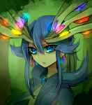 antlers blue_eyes blue_hair earrings eyelashes jewelry lgw7 personification pokemon pokemon_(game) pokemon_xy solo symbol-shaped_pupils x_x xerneas
