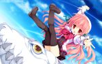1girl :d arm_up blush boots brown_legwear clenched_hand copyright_name dragon dress dutch_angle eco_(dragonar) hair_ribbon highres juliet_sleeves legs_up long_hair long_sleeves looking_at_viewer open_mouth outstretched_arms outstretched_hand pink_hair profile puffy_sleeves red_eyes ribbon seikoku_no_dragonar shimesaba_kohada sitting sky slit_pupils smile teeth thigh-highs very_long_hair wallpaper