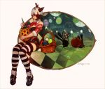 1girl animal_ears basket chocobo easter_egg egg final_fantasy final_fantasy_xiv miqo'te official_art paintbrush painting rabbit ribbon spriggan_(final_fantasy) striped tail thigh-highs zettai_ryouiki