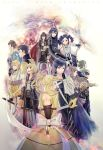 5girls 6+boys amatari_sukuzakki armor azur_(fire_emblem) black_hair blonde_hair blue_eyes blue_hair brown_eyes brown_hair cape copyright_name cynthia_(fire_emblem) eudes_(fire_emblem) fire_emblem fire_emblem:_kakusei frederik_(fire_emblem) green_eyes highres hooded_jacket jerome_(fire_emblem) krom liz_(fire_emblem) looking_back lucina mark_(fire_emblem) multiple_boys multiple_girls my_unit riviera_(fire_emblem) smile sumia sword twintails weapon