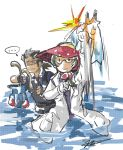 1boy 1girl glasses green_hair labcoat mightyena njike personification pokemon tentacool twitch_plays_pokemon vileplume wingull