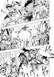 2girls 5boys assault_rifle balaclava casing_ejection comic dragunov_svd elbow_pads goggles gun helmet highres holster hoodie jacket load_bearing_vest m16 m4_carbine mini_uzi monochrome multiple_boys multiple_girls muzzle_flash original pouch pouches rifle scarf shell_casing short_pants sniper_rifle submachine_gun themare weapon