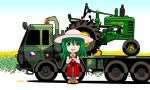 1girl arm_rest artist_name ascot boots chibi czech_flag field flatbed_truck flower flower_field gradient gradient_background green_eyes green_hair hat john_deere kazami_yuuka long_sleeves looking_at_viewer parted_lips plaid plaid_pants plaid_vest rubber_boots shadow short_hair shovel solo sunflower tomozo8674 touhou tractor worktool