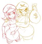 $ 2girls breasts cleavage cropped_legs dress eyebrows genderswap genderswap_(mtf) grin hat large_breasts mario matsu-sensei multiple_girls nintendo nintendo_ead overalls pointy_ears sack short_hair small_breasts smile striped striped_legwear super_mario_bros. t-shirt thick_eyebrows thigh-highs wario wario_land