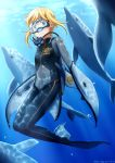 1girl blonde_hair blue_eyes bodysuit diving_mask dolphin flippers goggles highres kama_iruka original scuba short_hair smile snorkel solo underwater wetsuit