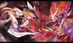 2girls blonde_hair bow braid character_name copyright_name eisuto flandre_scarlet hair_bow hat hat_bow kirisame_marisa letterboxed mini-hakkero multiple_girls red_eyes reversed side_braid side_ponytail stained_glass the_embodiment_of_scarlet_devil touhou vs wings witch_hat yellow_eyes