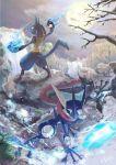 aura full_moon greninja highres leaf lucario moon nkyoku no_humans pokemon pokemon_(creature) pokemon_(game) red_eyes shuriken water