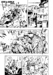6+boys ak-47 assault_rifle balaclava cap casing_ejection comic elbow_pads goggles gun helmet highres holster load_bearing_vest m16 monochrome multiple_boys muzzle_flash original rifle shell_casing themare weapon