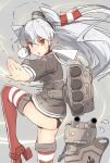 1girl amatsukaze_(kantai_collection) anchor black_panties brown_eyes crying crying_with_eyes_open fighting_stance flying_sweatdrops garter_straps hair_ornament high_heels kantai_collection long_hair machinery mushiboy panties personification rensouhou-kun school_uniform serafuku silver_hair single_glove solo standing_on_one_leg strap striped striped_legwear sweat sweatdrop tears thigh-highs twintails underwear