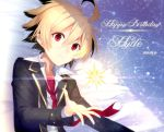 1boy ahoge black_hair blonde_hair dated happy_birthday hyde_(under_night_in-birth) multicolored_hair necktie red_eyes short_hair solo two-tone_hair under_night_in-birth yusano
