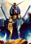 1997 1boy 1girl 70s 80s 90s amuro_ray blue_eyes boots curly_hair gloves gundam helmet highres mecha military military_uniform mobile_suit_gundam official_art oldschool orange_hair pilot_suit promotional_art realistic redhead rx-78-2 sayla_mass science_fiction shield signature spacesuit star_(sky) traditional_media uniform yasuhiko_yoshikazu