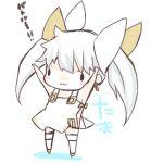 >:3 1girl :3 arms_up blush_stickers bow chibi hachitori_tobari hair_bow hair_ribbon kneehighs ribbon selector_infected_wixoss sleeveless solo tama_(selector_infected_wixoss) twintails white_hair