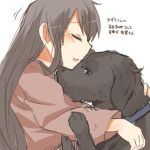 1girl akagi_(kantai_collection) alternate_costume animalization black_eyes blush brown_hair closed_eyes dog dog_collar hug kaga_(kantai_collection) kantai_collection long_hair lowres open_mouth rebecca_(keinelove) smile translated