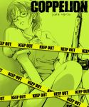 1girl bare_legs caution_tape coppelion copyright_name dragunov_svd glasses gun hat keep_out monochrome nomura_taeko nurse nurse_cap rifle short_ponytail short_sleeves sniper_rifle solo wakanu weapon