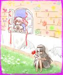 2girls akemi_homura akuma_homura black_hair crying dress flower goddess_madoka hair_ribbon hairband homulilly kaname_madoka long_hair magical_girl mahou_shoujo_madoka_magica mahou_shoujo_madoka_magica_movie makoto_(dandelion) multiple_girls pink_hair ribbon short_hair short_twintails smile spider_lily spoilers tagme tears twintails