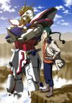 1boy blue_legwear blue_sky boots braid character_request cliff closed_mouth clouds copyright_request crossed_arms desert fingerless_gloves gloves green_eyes green_hair gundam hands_on_hips highres jacket kijinaka_mahiro long_hair looking_afar mecha mecha_to_identify open_eyes orange_shirt pants ponytail pose rock science_fiction shirt sky smile solo standing tagme wind