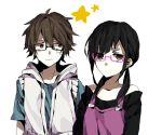 1boy 1girl amamiya_hibiya asahina_hiyori brown_eyes glasses hoodie kagerou_project long_hair short_hair star twintails wonoco0916