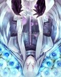 armor closed_eyes kai28 long_hair petals pixiv_fantasia pixiv_fantasia_fallen_kings silver_hair solo sword weapon