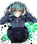 1girl blue_eyes blue_hair ene_(kagerou_project) glasses headphones kagerou_project skirt solo twintails wonoco0916
