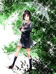 1girl black_hair branch leaf mizuiro_murasaki nakahara_misaki nhk_ni_youkoso! school_uniform short_hair skirt socks solo umbrella