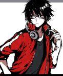 1boy black_hair glasses headphones kagerou_project kisaragi_shintarou short_hair solo track_jacket wonoco0916