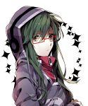1girl glasses green_eyes green_hair hoodie kagerou_project kido_tsubomi solo wonoco0916