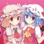 2girls ascot bat_wings blonde_hair blue_hair blush cosplay costume_switch flandre_scarlet flandre_scarlet_(cosplay) hat long_hair looking_at_viewer multiple_girls red_background red_eyes remilia_scarlet remilia_scarlet_(cosplay) short_hair siblings side_ponytail sisters smile star starry_background swami touhou wings