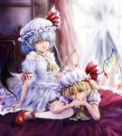 2girls arm_ribbon ascot bare_shoulders bat_wings blonde_hair blue_hair brooch choker curtains expressionless eyelashes flandre_scarlet garter_straps hand_on_another's_head hat hat_ribbon head_rest jewelry legs_up lips looking_at_viewer lying_on_person mob_cap multiple_girls on_bed pointy_ears puffy_short_sleeves puffy_sleeves red_eyes remilia_scarlet ribbon ribbon_choker short_hair short_sleeves siblings sisters sitting skirt skirt_set slit_pupils thigh-highs touhou txoxsxhxi wariza window wings