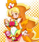 1girl :q alternate_form blonde_hair choker coconut_samba cure_honey earrings hairband halftone halftone_background happinesscharge_precure! iruka-margarine jewelry long_hair magical_girl oomori_yuuko orange_background precure skirt solo tongue very_long_hair white_background wrist_cuffs yellow_eyes