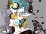 1boy 1girl blonde_hair blue_eyes butterfly butterfly_hair_ornament butterfly_wings ebimayo female genderswap hair_ornament hatsune_mikuo headphones hug kagamine_rin magnet_(vocaloid) male short_hair vocaloid wings
