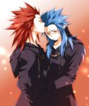 androgynous axel bad_id blue_hair blush closed_eyes diabolism facial_mark forehead_kiss gloves kingdom_hearts kiss long_hair male multiple_boys organization_xiii pointy_ears red_hair redhead saix scar spiked_hair tears toujou_sakana trench_coat trenchcoat yaoi yellow_eyes